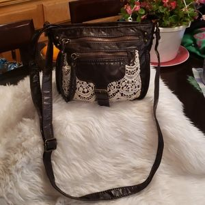 Mossimo Brown Crossbody Bag with Lace Accents